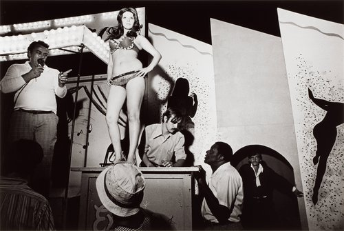 Lena on the Bally Box, Essex Junction, Vermont, from the series Carnival Strippers