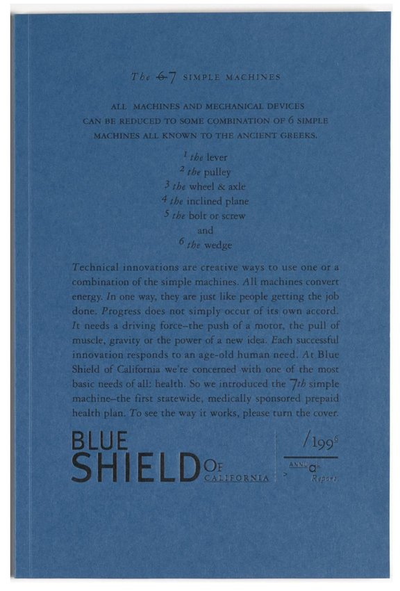 image of 'Blue Shield of California 1996 Annual Report: The Seven Simple Machines'