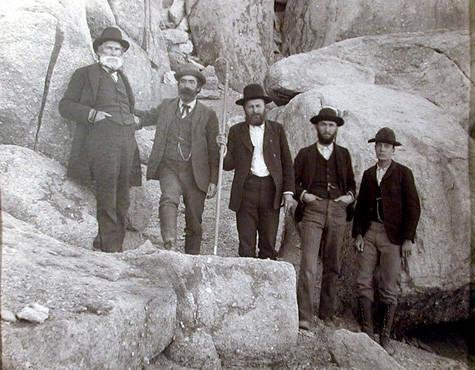 image of 'Mt. Conness Expedition Survey Party in the Field: Davidson, Gilbert, Winston, Finley, Edmonds'