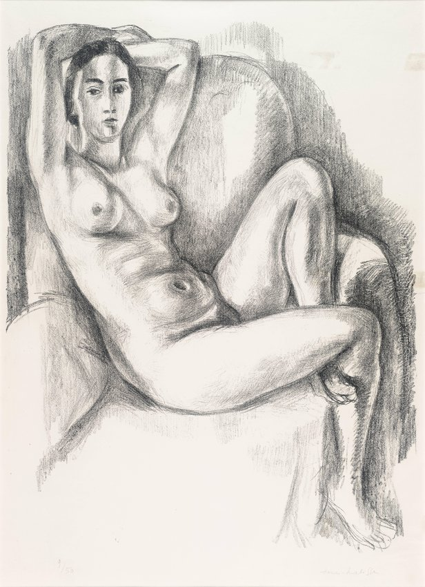 image of 'Nu au coussin bleu (Nude on Blue Cushion)'
