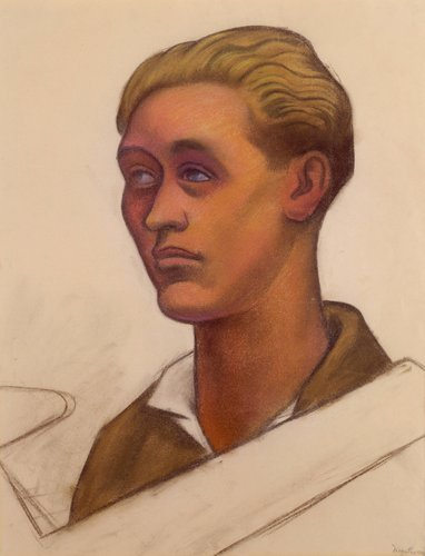 Untitled (Head of a young man with model airplane), study for the mural Allegory of California, Pacific Stock Exchange Luncheon Club, San Francisco