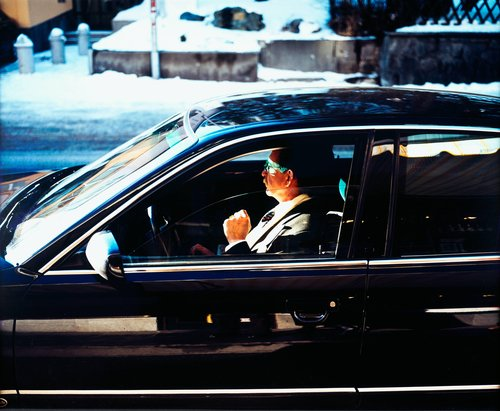 Bodyguard/Driver No.2, at Hotel Pöstli (waiting for Yassar Arafat), from the series Temporary Discomfort, Chapter I, The Valley. World Economic Forum WEF, Davos-CH, January 2001