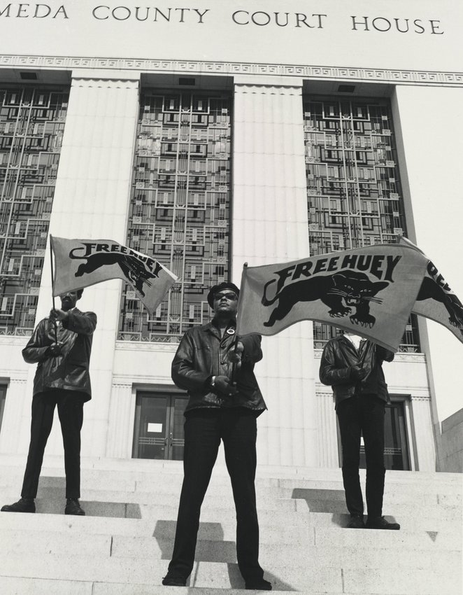 image of Black Panther demonstration in front of the Alameda County Court House, Oakland, California, during Huey Newton's trial, July 30, 1968, from The Vanguard: A Photographic Essay on the Black Panthers