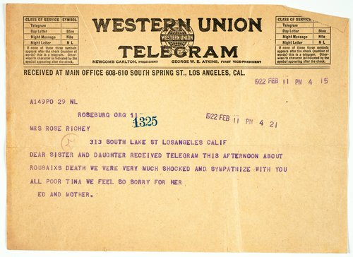 Telegram from Richey Relatives to Rose and Marionne Richey