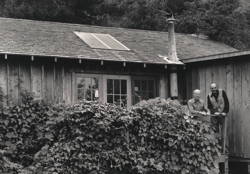 Ansel Adams and Edward Weston at Weston's home, Wildcat Creek, Carmel