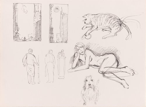 Untitled (Studies: Urban Scenes, Cat, Dog, Reclining Nude, and Male Figure) [verso]