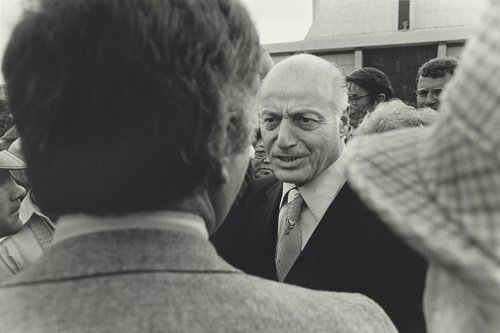 Joseph Alioto at the George Moscone funeral
