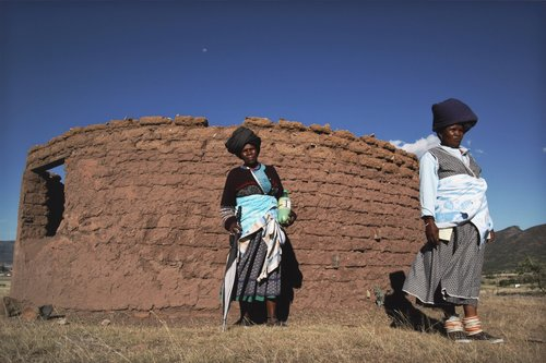 Untitled [Women in front of hut], from the series The Eastern Cape
