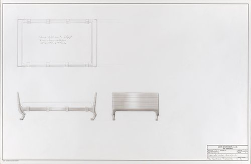 Covered oak daybed for M. Gustave Tassell