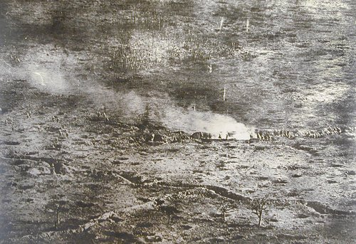 Untitled [Aerial view of battlefield with soldiers and trenches]