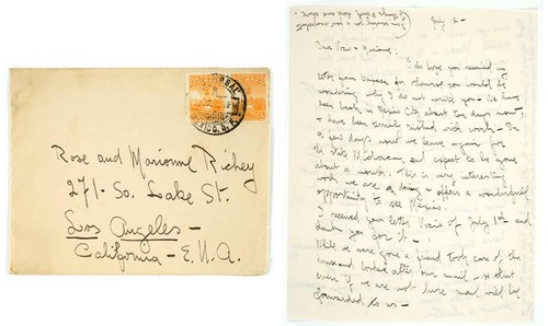 Letter from Tina Modotti to Rose and Marionne Richey