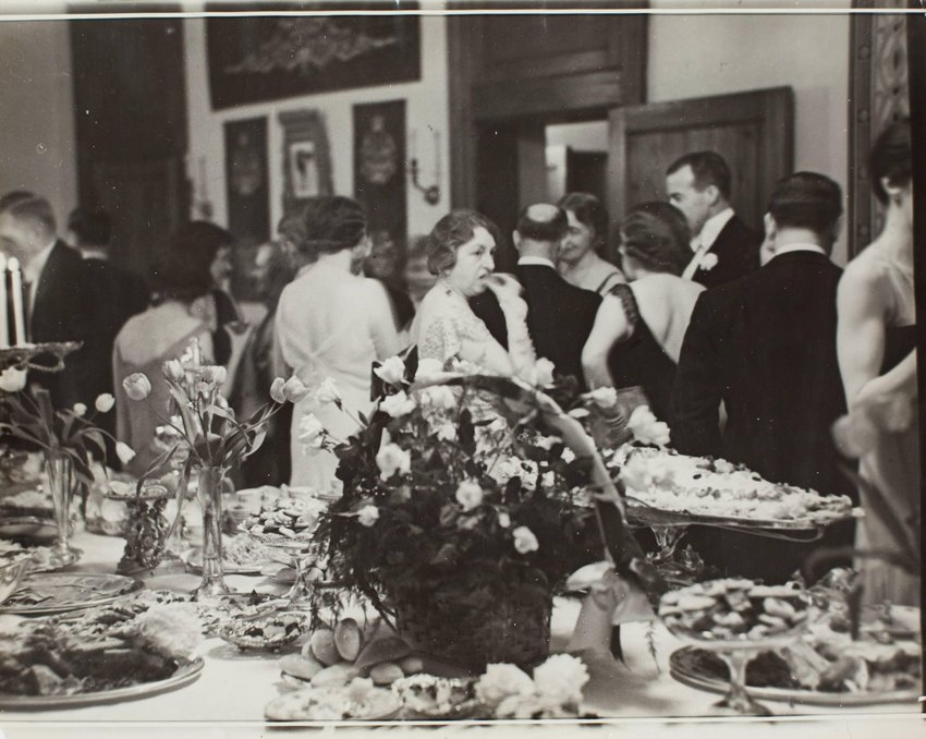 image of 'Mrs. Frederick Payne of the War Department eating at buffet in Mayflower Hotel, Washington, D.C.'