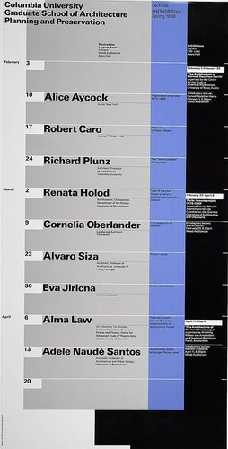 Columbia University School of Architecture, Planning, and Preservation, Spring 1988 Lecture Series Poster