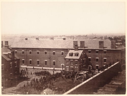 Execution of the Presidential Conspirators, Lowering the Bodies, July 7, 1865