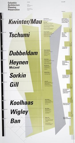 Columbia University School of Architecture, Planning, and Preservation, Spring 2000 Lecture Series Poster