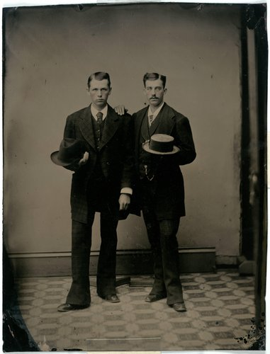 Portrait of Two Young Men, Holding Hats