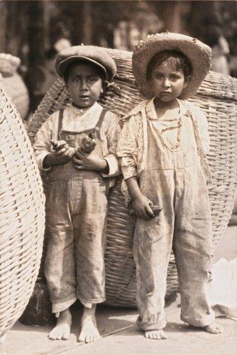 Untitled (Two Barefoot Boys with Baskets)