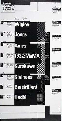 Columbia University School of Architecture, Planning, and Preservation, Spring 1992 Lecture Series Poster