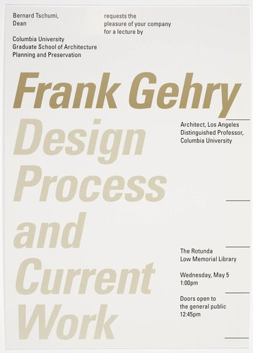 Frank Gehry Lecture Invitation