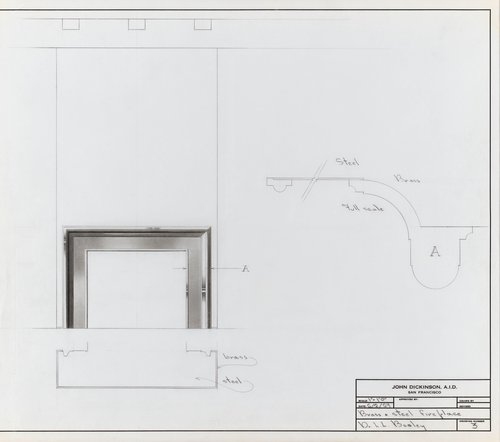 Brass and steel fireplace for Dr. L. L. Bosley