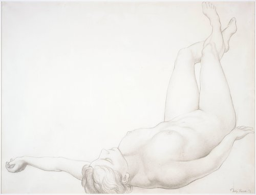 Untitled (Reclining figure), study for the ceiling of the mural Allegory of California, Pacific Stock Exchange Luncheon Club, San Francisco