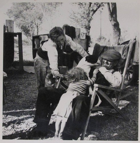 Destitute family. American River camp, Sacramento, California. Five children, aged two to seventeen years [per Library of Congress caption]