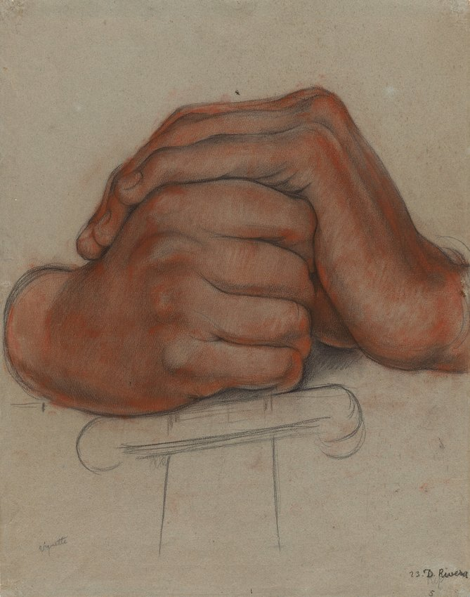 image of Untitled (Hands of the figure Strength), study for the mural Creation, Bolívar Amphitheater, National Preparatory School, Mexico City