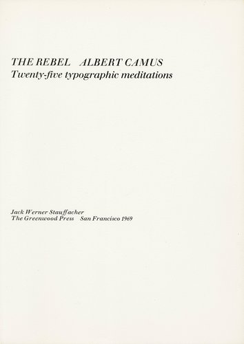 The Rebel Albert Camus: Twenty-Five Typographic Meditations [title page]