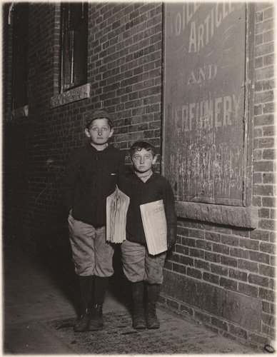 Untitled [Newsboys at night, Rochester, New York]