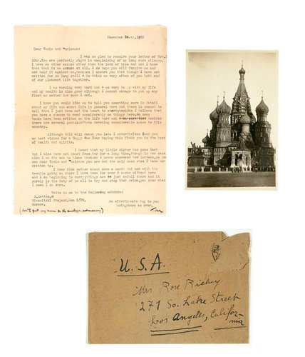 Letter and Postcard from Tina Modotti to Rose and Marionne Richey
