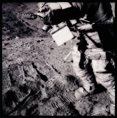 David Scott Manipulates Collection Tongs at Spur Crater, from the series Full Moon by Michael Light