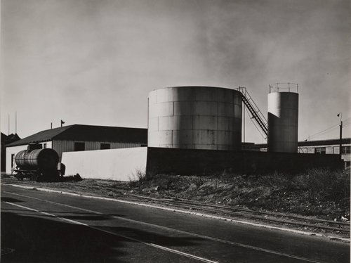 Untitled [Oil tank with railroad car]