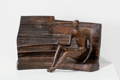 Maquette for Seated Figure against Curved Wall