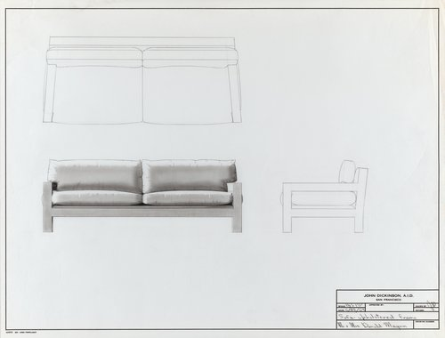 Sofa with upholstered frame for Mr. and Mrs. Donald Magnin