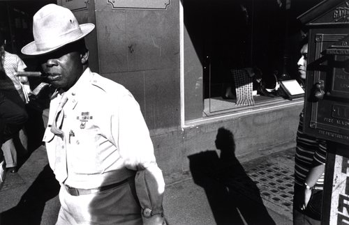 Untitled [African-American army officer on the street]