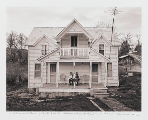 Wood frame double house with added porch, Alabam (Madison County), Arkansas, (demolished)