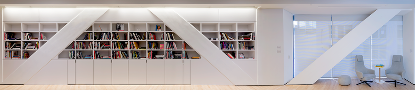 Bookshelves and seats in the Koret Education Center