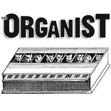 "A black and white logo featuring an organ and the word ""The Organist"""