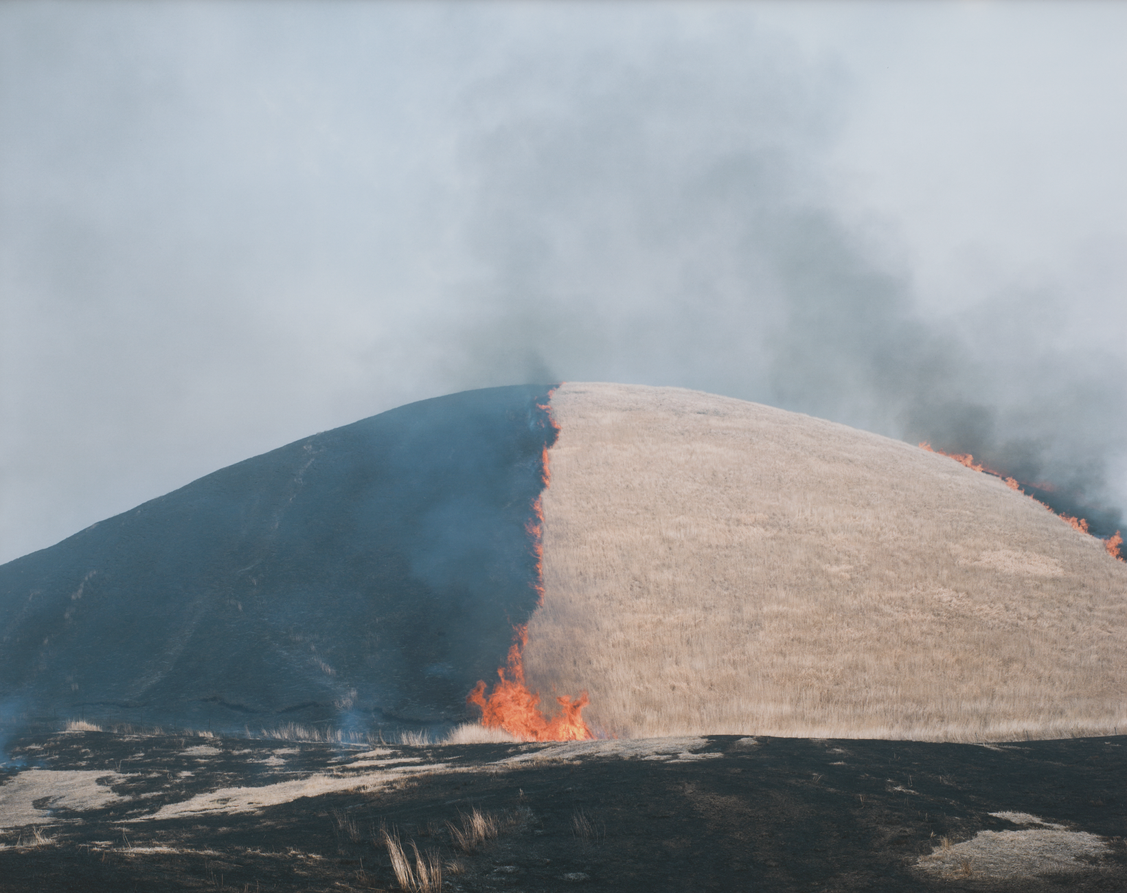 Photography of a burning hill