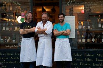 Ben Kinmont, three chefs in front of restaurant