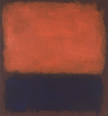 A rectangular, orange field of paint with diffuse borders hovers above a shorter dark blue, rectangular field of paint, both over a brown background