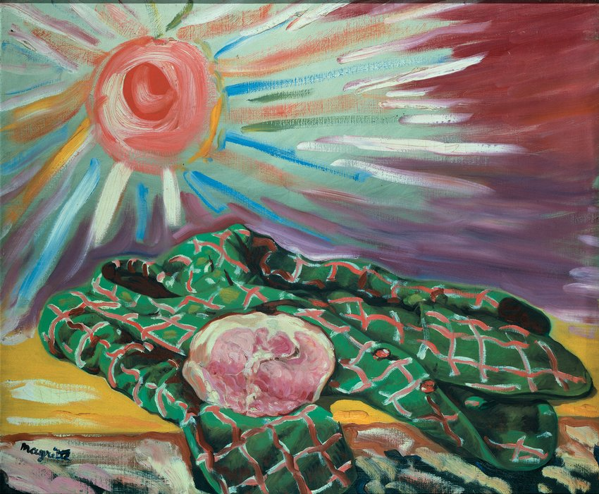 A colorful painting with impressionistic brush stroke illustrating a coat and the sun, Magritte