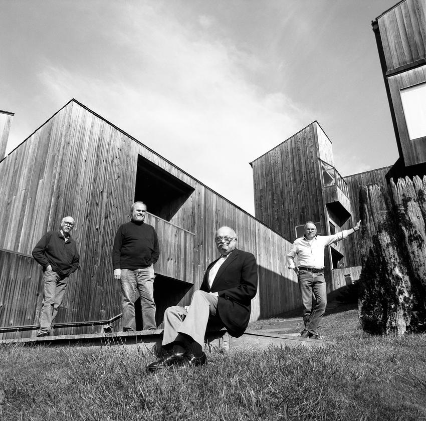 SFMOMA PresentsThe Sea Ranch,A black and white photograph of four men at The Sea Ranch