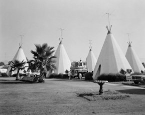 John Schott, photo of four teepee structures