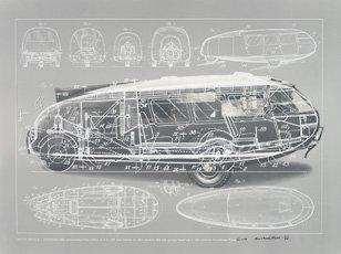 Buckminster Fuller print of motor vehicle