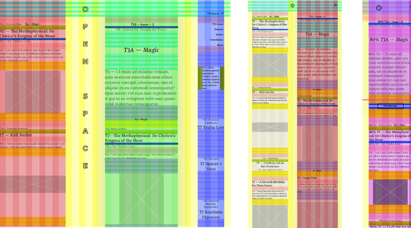 A multi-colored vertical grid