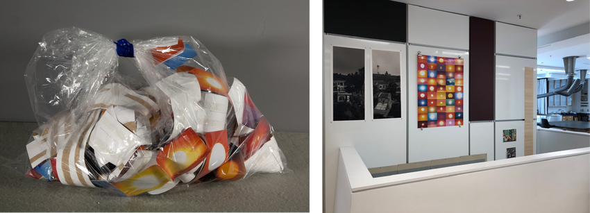two images of Penelope Umbrico's sunset pieces