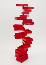 Kuramata, cabinet of stacked red rectangles