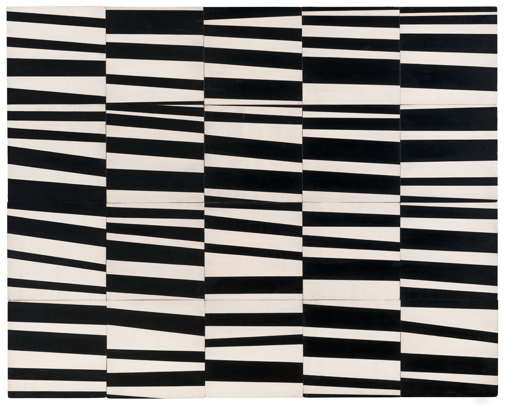 A 5x4 grid composed of squares with irregular black and white horizontal stripes