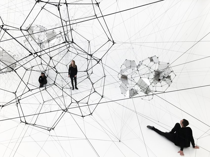 Installation view, Tomás Saraceno: Stillness in Motion—Cloud Cities, 2017